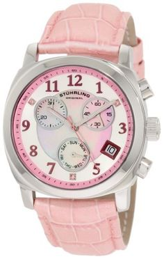 Stuhrling Original Women's 246.1115A9 Vogue Audrey Fiorenza Swiss Quartz Chronograph Swarovski Crystal Mother-Of-Pearl Day and Date Pink Watch Stuhrling Original. Save 81 Off!. $115.00. Stainless steel round case with protective Krysterna crystal. Pink alligator embossed genuine leather strap with stainless steel clasp. Pink Mother-Of-Pearl center dial with chronograph fuction and day and date complication. Stainless steel outer dial with pink chapter ring and pink Swarovsk...