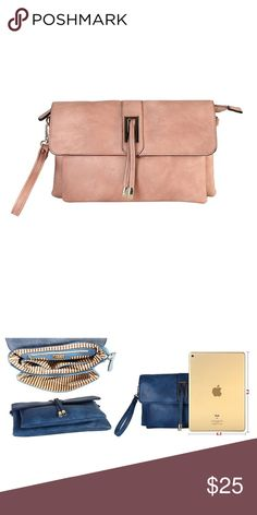 Cross Body Shoulder Purse Clutch Flap Baquette Cross Body Shoulder Purse Bag.  Removable Shoulder and Wrist Strap Accented Metal Magnet. Pink, blush; pictures with blue one are just for the reference. Bags Crossbody Bags