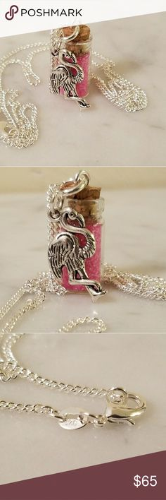 """💖SALE💖Pink Flamingo pixie bottle necklace .925 Sterling Silver delicate chain 26"""" in length with a glass pixie dust bottle filled with Bright pink glitter. And a Flamingo charm.   Look for a matching bracelet in my closet.   Magen's Fairytale Creations original handmade by me. Magen's Fairytale Creations Jewelry Necklaces"""