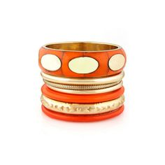 Orange Bangle Set - Gold Bangle Set - $22.00 ($22) ❤ liked on Polyvore