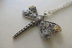 Steampunk Dragonfly necklace with swarovski crystals by Lsyounique, $24.00