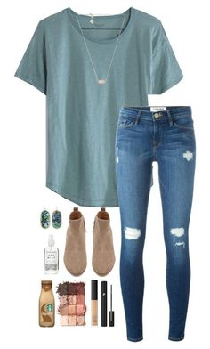 """""""School"""" by halledaniella ❤ liked on Polyvore featuring Madewell, Frame, Witchery, Lancôme, NARS Cosmetics, tarte, Kendra Scott and Herbivore"""
