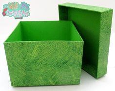 Caja de papel diseño verde de ramas !!!