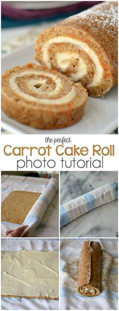 The Perfect Carrot Cake Roll with photo tutorial Carrot Cake Roll Recipe, Cake Roll Recipes, Dessert Recipes, Dip Recipes, Food Cakes, Cupcake Cakes, Cupcakes, Baking Cakes, Baking Set
