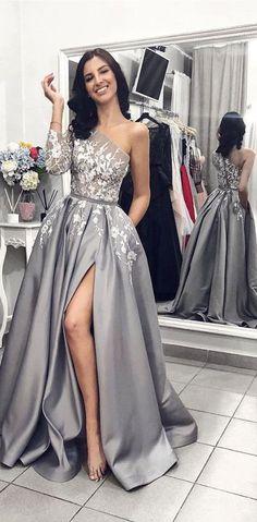 One Shoulder Lace Elegant Grey Long Custom Prom Dresses 35ecfec4e2c7