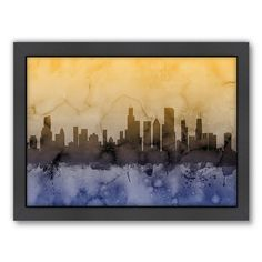 Americanflat Michael Tompsett ''Chicago Skyline'' Black Framed Wall Art, Blue