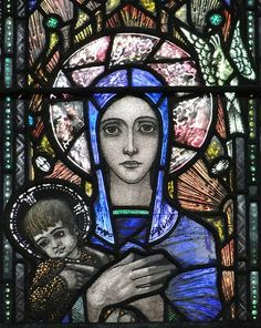 South window, nave, by Harry Clarke, in memory of Lt Richard Knowles. Depicts Richard the Lionheart, St Cecilia and Mary - detail : Virgin and Child Stained Glass Church, Stained Glass Paint, Stained Glass Windows, Mosaic Art, Mosaic Glass, Glass Art, Madonna, Harry Clarke, Church Windows