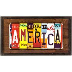 America License Plate Framed Wall Art⎜Open Road Brands