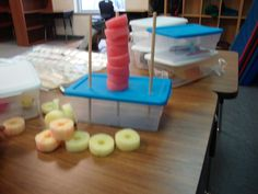 Pool Noodle Stacking:  Great activity for emerging learners because the size of the pool noodle makes it easier to hold and manipulate but still encourages fine motor. Variations like having child color sort noodle pieces or make a pattern on each rod would increase its difficulty.