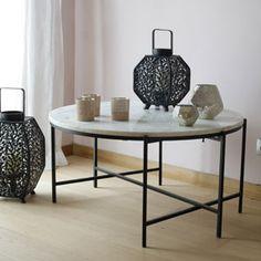 Table basse ronde plateau marbre pieds métal noir Hanjel