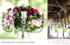 apfel gruen hochzeitsdekoration tischdekoration mit hortensien gerberas rosen