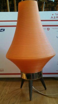 Super Atomic Midcentury Modern Table Lamp...Nice Orange w/ wood feet