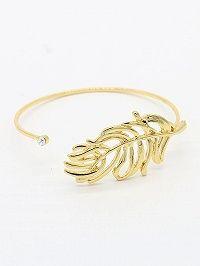 Golden Crystal Leaf Shape Open Bracelet