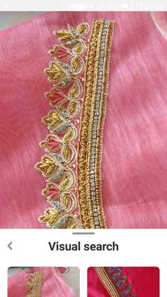 Simple Embroidery Designs, Simple Blouse Designs, Blouse Back Neck Designs, Simple Designs, Zardosi Embroidery, Beaded Embroidery, Pattu Saree Blouse Designs, Kalyan Tips, Work Blouse