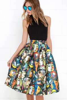 A picture may be worth a thousand words, but the Pretty as a Picasso Multicolored Print Midi Skirt will leave you speechless! A bold graphic print pays homage to Picasso across shiny satin fabric as it shapes a high-waisted midi skirt with box pleats. Hidden back zipper and clasp.