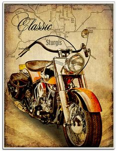 """Classic vintage Motorcycle art print """"The Road to Sturgis"""". The perfect gift for… Klassischer Vintage Motorrad Kunstdruck """"The Road to Sturgis"""". Motorcycle Gifts, Motorcycle Posters, Bobber Motorcycle, Classic Motorcycle, Vintage Bikes, Vintage Motorcycles, Vintage Art, Harley Davidson Posters, Classic Harley Davidson"""