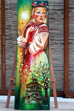 Tento obraz je prelomovým dielom v autorkinej tvorbe. Po prvý krát  spája slovenskú históriu  s folklórom. Autorka  sa zameriava na reálne zobrazenie kroja z konkrétnej oblasti v detailnej maľbe výšivky. Tento obraz znázorňuje mladé dievča oblečené v kroji z  Horehronia, konkrétne z Heľpy. Sari, Painting, Fashion, Saree, Moda, Fashion Styles, Painting Art, Paintings, Painted Canvas