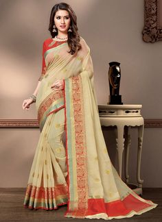 Beige Weaving Traditional Designer Saree