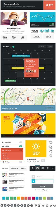 Webdesign Schweiz | Jetzt kostenlose Offerte anfordern http://www.swisswebwork.ch Freebie PSD - UI Kit by Aykut Yilmaz, via Behance