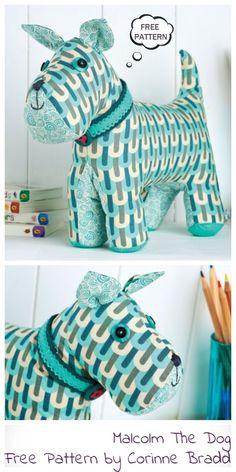 DIY Fabric Dog Toy Free Sewing Patterns | Fabric Art DIY - #Art #DIY #Dog #Fabric #Free #Patterns #Sewing #Toy Animal Sewing Patterns, Sewing Patterns Free, Free Sewing, Fabric Patterns, Stitching Patterns, Fabric Toys, Fabric Art, Fabric Crafts, Fabric Sewing