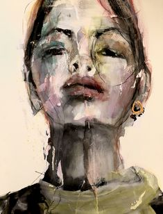 Girls with a golden jewel - Yvon van Bergen Potrait Painting, Watercolor Portrait Painting, Abstract Portrait, Portrait Art, Portraits, Abstract Faces, Abstract Art, Art Drawings Beautiful, Peace Art