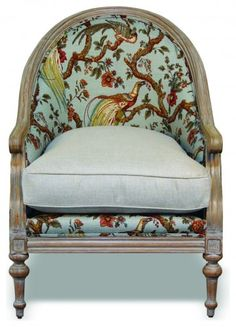 FAUSTINA CHAIR- CLOUD...  The vibrant peacock fabric enhances the opulence of this curved chair. The carved legs have been... more »  PENINSULA