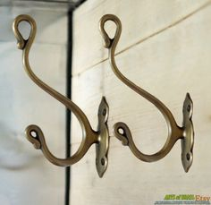 Lot of 2 pcs Vintage CLASSIC Victorian HOOK Classic Solid Brass Strong Wall Mount hook by ArtsofBrass on Etsy https://www.etsy.com/listing/128608364/lot-of-2-pcs-vintage-classic-victorian