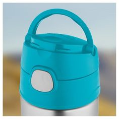 Thermos Funtainer Vacuum Insulated Stainless Steel Bottle Crckt Happy Faces Pattern - 12oz, Blue