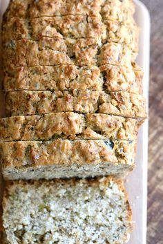 Vegan Gluten free Zucchini Bread Recipe. Moist, soft Zucchini Bread loaded with Oats, Chia seeds, Zucchini. Vegan Gluten-free gum-free Soy-free Recipe | VeganRicha.com
