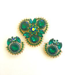 16bac3d368caf1 Judy Lee Brooch Set, Demi Parure, Rhinestone Brooch and Clip Earring Set,  Emerald Green, Vintage Designer Jewelry