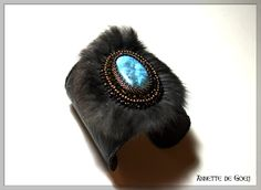 Leather bead embroidered cuff - Fur and Labradorite. €115.00, via Etsy.