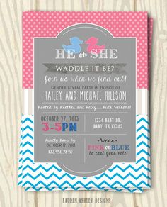 """""""Waddle It Be"""" - Gender Reveal Party Invitation - 5x7"""