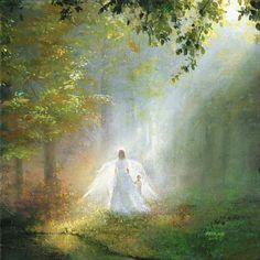 Guidance, by Akiane Kramarik, child and guardian angel (c) 2016 Christian Paintings, Christian Art, Akiane Kramarik Paintings, Celestial, Heaven Painting, Heaven Art, Illustrator, Prophetic Art, Jesus Art