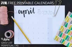 4 Free Printable Calendars- I love the simple handlettering on these!