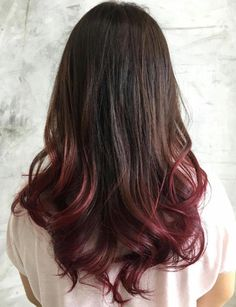 Dark Brown Hair With Burgundy Dip Dye