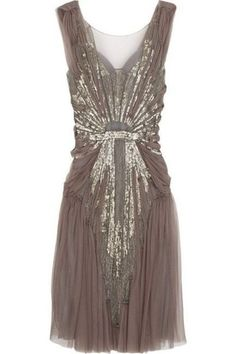 Dazzling 1920s brown dress gold sequins homecoming grey tulle, sequins