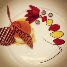 Le Cordon Bleu - Basic Patisserie - Creme Caramel with tuile decoration and raspberry and mango coulis.