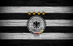 Download wallpapers 4k, Germany national football team, logo, Europe, football, wooden texture, soccer, Germany, European national football teams, German Football Federation