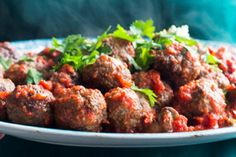 Venison meatballs with red wine plum sauce and celeriac mash Recipes Eat Well with Bite Venison Recipes, Meat Recipes, Healthy Recipes, Game Recipes, Midweek Meals, Easy Meals, Celeriac Mash, Venison Meatballs, Mince Dishes
