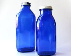 Two Cobalt Blue Glass Bottles Vintage Glass Bottles by Sfuso