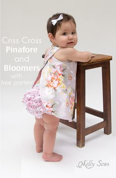 Criss Cross Pinafore Dress with Bloomers - FREE Sewing pattern sizes 0-3m - Melly Sews Baby Clothes Patterns, Sewing Baby Clothes, Easy Baby Sewing Patterns, Designer Baby Clothes, Baby Bloomers Pattern, Baby Dress Pattern Free, Baby Girl Dress Patterns, Ruffle Bloomers, Free Pattern