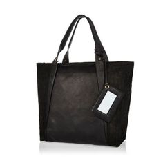 Black leather croc panel tote bag - shoppers / tote bags - bags / purses - women