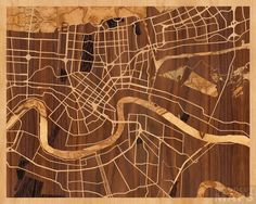 Sneak peak of burl woods, coming soon -- 20x16 Woodcut Map of New Orleans, Louisiana