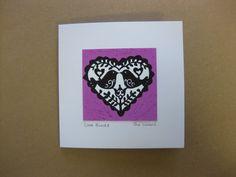 Love Birds. A handmade blank greetings Card by SueCollinsArt