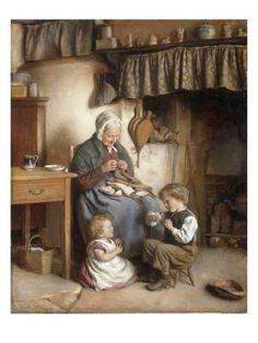 Giclee Print: Helping Grannie Art Print by Joseph Clark by Joseph Clark : Art Et Illustration, Foto Art, Victorian Art, Vintage Pictures, Vintage Photographs, Beautiful Paintings, Oeuvre D'art, Female Art, Art Gallery