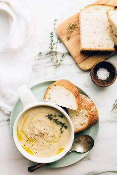 Vegan Roasted Garlic Cauliflower Soup | Blissful Basil | Bloglovin'
