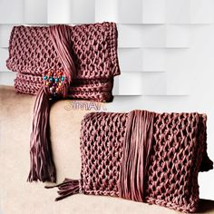 Tunusian crochet&macrame fringe clutch