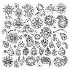 Buy Hand Drawn Swirls by ssstocker on GraphicRiver. Hand drawn vector vintage floral doodle swirls and elements Paisley Drawing, Paisley Doodle, Motif Paisley, Paisley Art, Floral Doodle, Paisley Design, Paisley Pattern, Paisley Flower, Doodle Art Designs