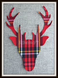 1 x 8in K4. Scottish Stag Head, Red Tartan Cotton Fabric ,Cut Out, Iron/Sew On, Applique Style 3 by Nairncraft on Etsy £3 plus P&P.