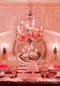 Pink flowers in the chandeliers. #BrightPink